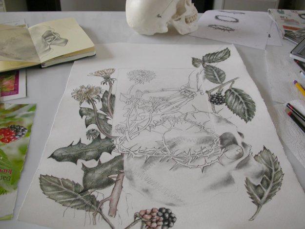 © Anita Salemink 2014. Work in progress Charcoal drawing and engraving