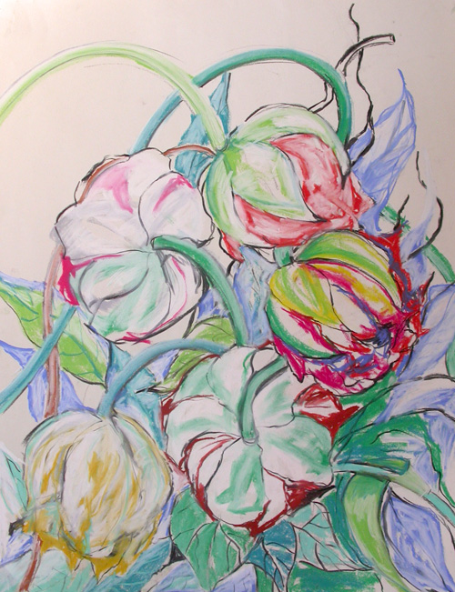 © Anita Salemink 2015. Tulips, Charcoal Pastel drawing $150