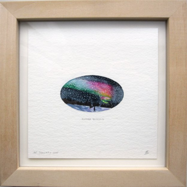 © Anita Salemink 2015, Aurora Borealis (framed) Watercolour 12.5 x 12.5 cm, 25 january 2015