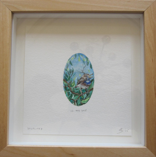 © Anita Salemink 2015. Wildlife No. 3 (framed) Watercolour 12.5 by 12.5 cm