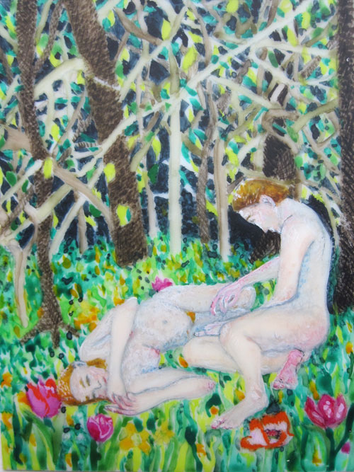 © Anita Salemink 2016. Adam and Eve Contemplate Watercolour on ivorine 8 by 6 cm