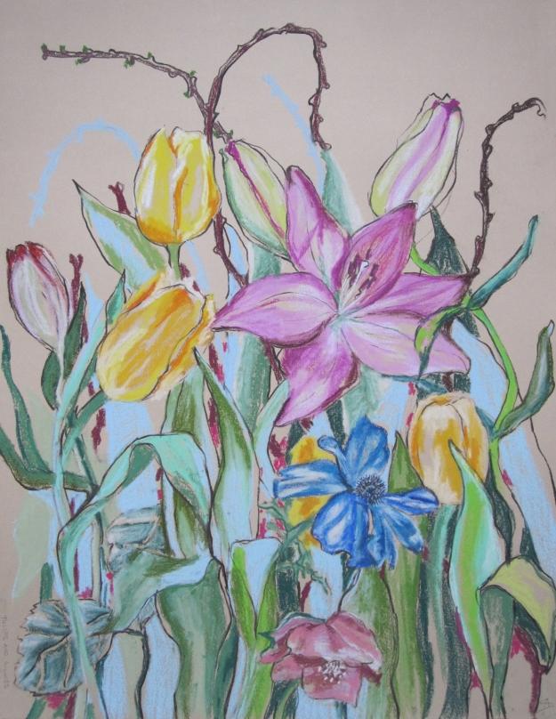 Tulips and Lillies © Anita Salemink 2017, 65 x 50 cm